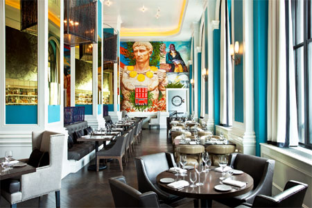 Cool turquoise-hued walls and wildly federalist provide a bold setting for Mediterranean fare at Pinea in the W Washington D.C. hotel
