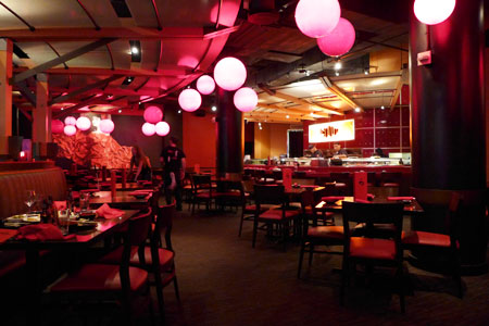 Dining room at RA Sushi Bar Restaurant, San Diego, CA