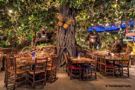 Enjoy a meal with the family at Rainforest Cafe, one of GAYOT's Best Kid-Friendly Restaurants on the Las Vegas Strip