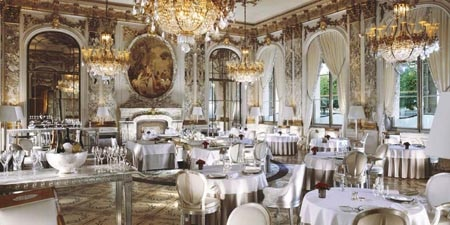 Dining room at Le Meurice, Paris, france