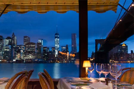 The River Cafe in Brooklyn offers fantastic views of the Manhattan skyline