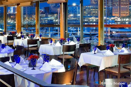 Enjoy water views from Rusty Scupper restaurant in Baltimore