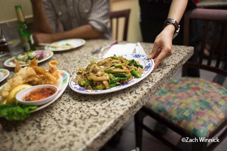 Sanamluang Cafe is notable for its noodle dishes and late hours