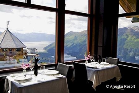 Seven Glaciers Restaurant at Alyeska Resort features striking views