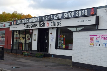 Dining room at Simpsons Fish & Chips, Cheltenham, UK