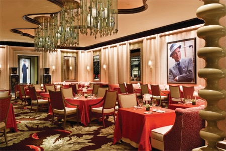 The dining room at Sinatra in Las Vegas, Nevada