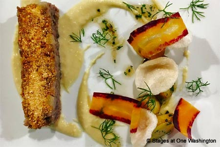 Chef Evan Hennessey offers innovative cuisine at Stages at One Washington restaurant in Dover, New Hampshire