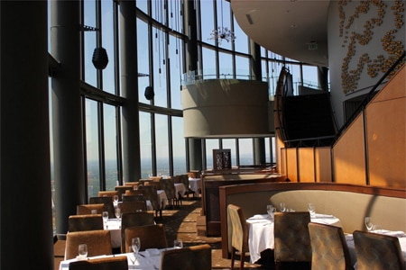 The Sun Dial Restaurant, Bar & View in Atlanta slowly moves 360 degrees to provide a birds-eye panorama of the city