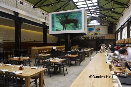Dining room at Tramshed, London, UK