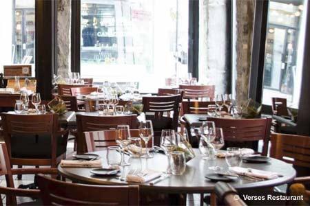 Dining Room at Verses Restaurant, Montréal, QC