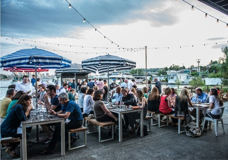 Westward in Seattle features a waterfront patio