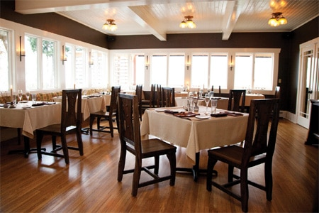 Dining room at The Willows Inn, Lummi Island, WA