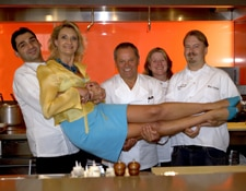 Sophie Gayot at CUT being held up by Christophe Bellanca, Wolfgang Puck,  Helene Kennan and Neal Fraser.