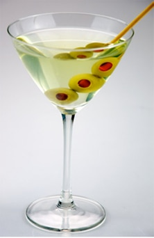A classic martini is gin. vermouth and crushed ice