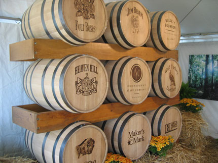Barrels of bourbon from some of America's most famous distilleries
