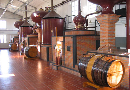 Copper stills used for distilling Cognac