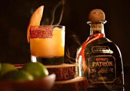 The Smoked Mangonada Margarita is made from Patron Tequila, mango puree and lime juice