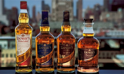 Dewar's portfolio of blended Scotch whiskies in new labeling