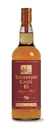 Knappogue Castle Twin Wood Single Malt Irish Whiskey is aged in both bourbon and sherry casks