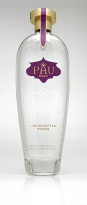 Each individually-numbered bottle of Pau Maui Vodka bears a pineapple skin design, while pineapple leaves adorn the logo