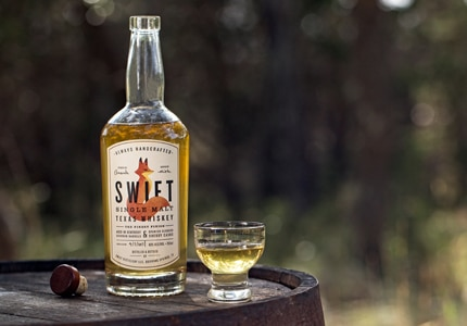 Swift Single Malt Texas Whiskey is aged in Kentucky Bourbon barrels and Sapnish Oloroso sherry casks