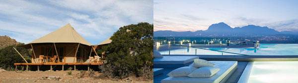On the left: Sanbona Wildlife Reserve in South Africa; on the right: SHA Wellness Clinic in Alicante, Spain