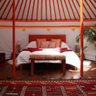 Inside a Mongolian yurt at The Hoopoe Yurt Hotel in Spain
