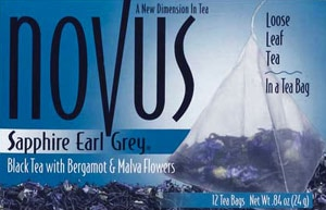 Novus Tea's Sapphire Earl Grey blend features light floral notes besides bergamot