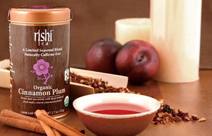 Rishi Tea's Organic Cinnamon Plum blends hibiscus, plum, currants, cinnamon and licorice root