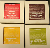 Seven Infusions: Lemon Verbena, Cornflower, Basil and Peppermint blends