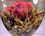 One ot the most popular teas, Green Peony, resembles a pink peony once it has reached full bloom