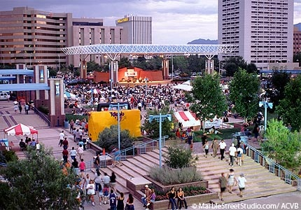 The Civic Plaza in Albuquerque, New Mexico, hosts many festivals and events