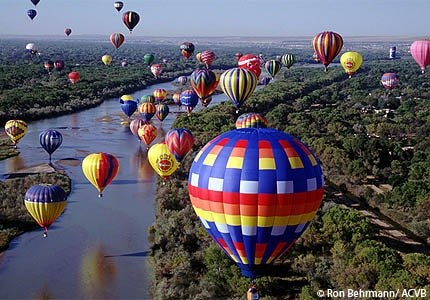 The International Balloon fiesta in Albuquerque, New Mexico, is the largest of its kind in the world