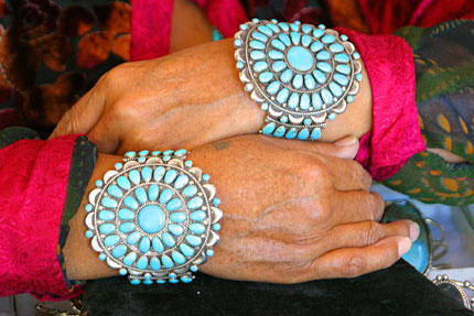 Traditional Native American needlepoint turquoise bracelets