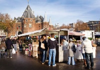Nieuwmarkt, a large open square in Amsterdam's old city center