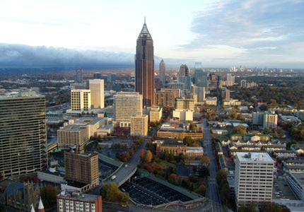 A bird's-eye veiw of the Atlanta skyline in Georgia