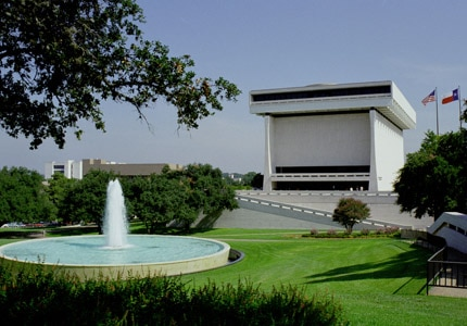 The exterior of the LBJ Library and Museum