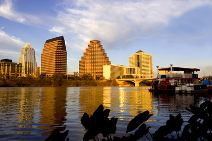 The Austin skyline: Austin hosts more festivals and outdoor activities than there are days in the year