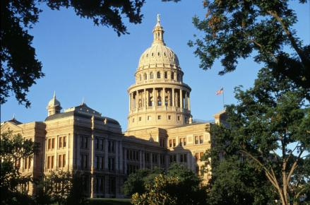 The Texas State Capitol contains the offices of the governor and the Texas State Legislature