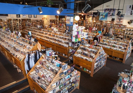 Inside Waterloo Records, a core part of the music scene in Austin,TX