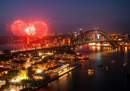 A view of the fireworks over Sydney Harbour in Australia on New Year's Eve