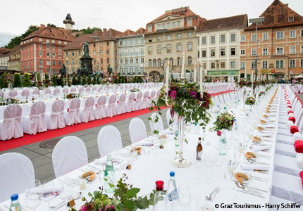 Set-up for the Long Table of the Capital of Culinary Delights in Graz, Austria
