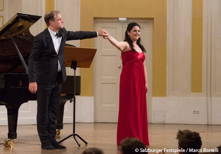 Soprano Maria Agresta and pianist Julius Drake performing at the Salzburg Festival