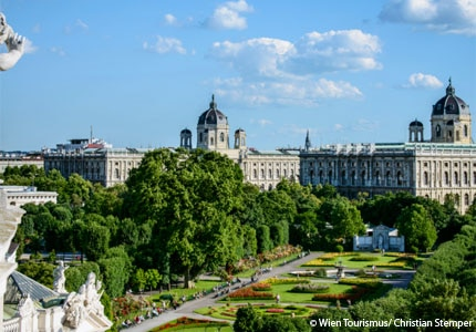 A view of the Kunsthistorische and Naturhistorische Museums in Vienna, Austria