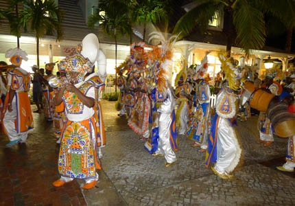 Junkanoo is a Bahamian festival that occurs on December 26 and New Year's Day