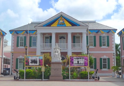 The Senate building in Parliament Square in Nassau, The Bahamas