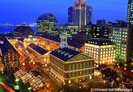 A view of Faneuil Hall Marketplace in Boston, Massachusetts