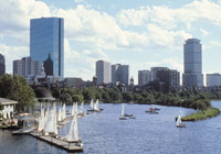 The Charles River separates Boston from Cambridge and Charlestown