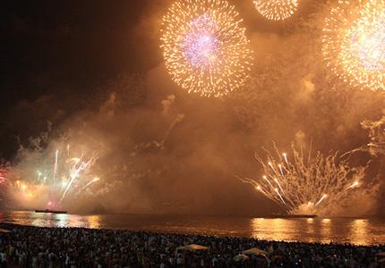 The spectacular fireworks show at Copacabana Beach in Rio de Janeiro, Brazil