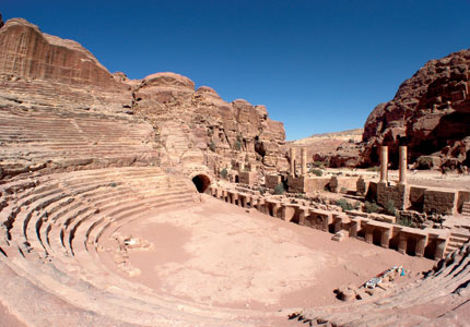 The amphitheater at the ancient metropolis of Petra in Jordan